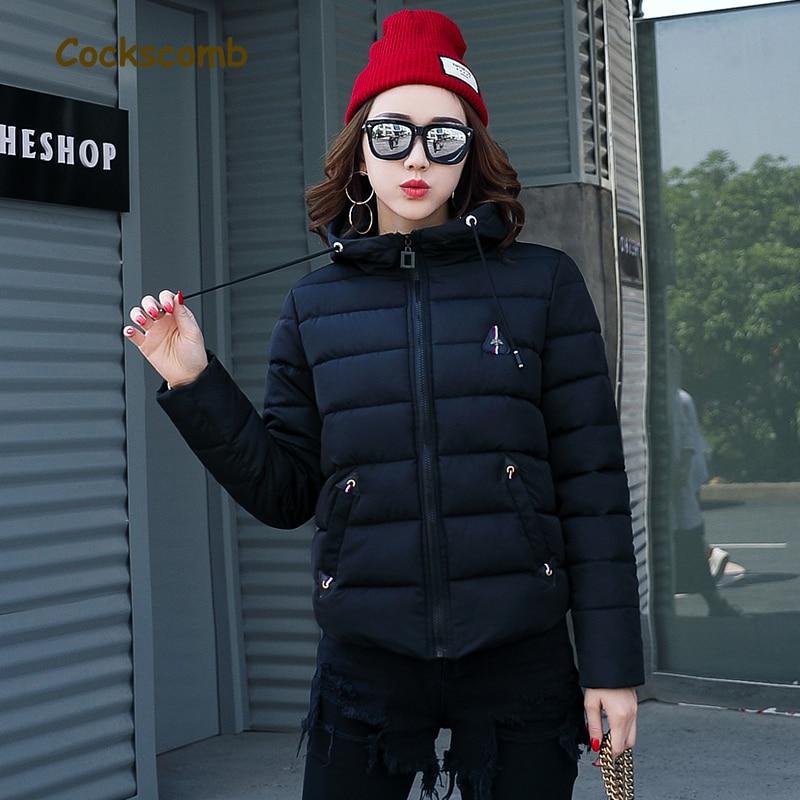 Cockscomb brand new 2018 winter   parkas   women fashion warm cotton wadded jacket woman short style slim coat with hood