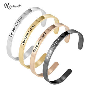 Bangle Bracelet Jewelry Engraved Name Stainless-Steel Personalized Women for Words-Letters