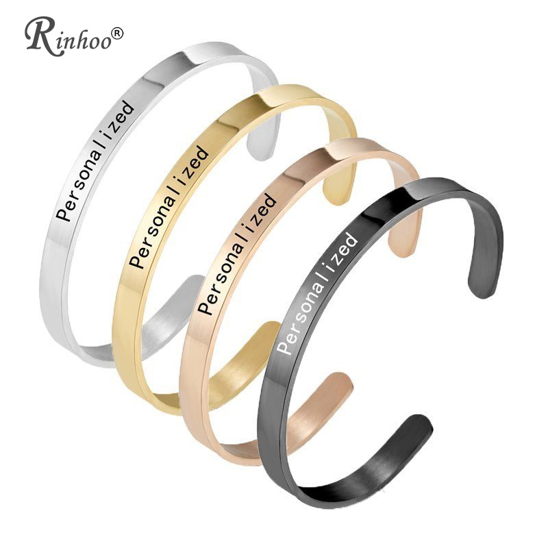 1PC Personalized Engraved Custom Name Stainless Steel Bracelet Jewelry Name Words Letters Custom Bracelet & Bangle For Women Men