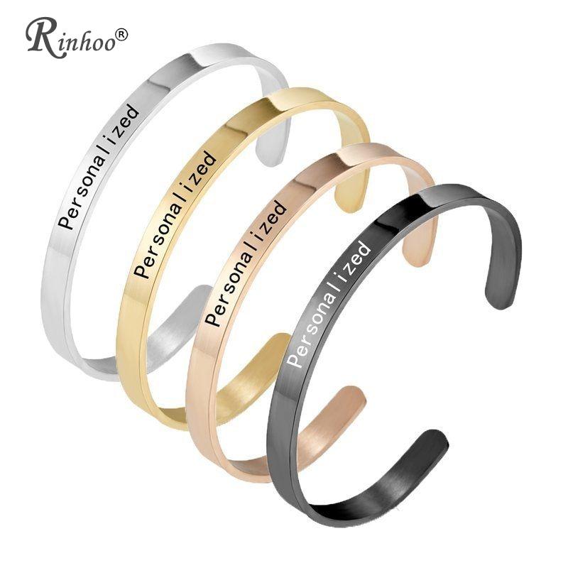 1PC Personalized Engraved Custom Name Stainless Steel Bracelet Jewelry Name Words Letters Custom Bracelet & Bangle For Women men