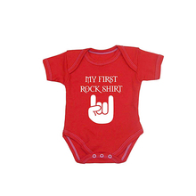Baby My First Rock Shirt Clothes Bodysuit Infant black and red 0-12m my first touch and find park