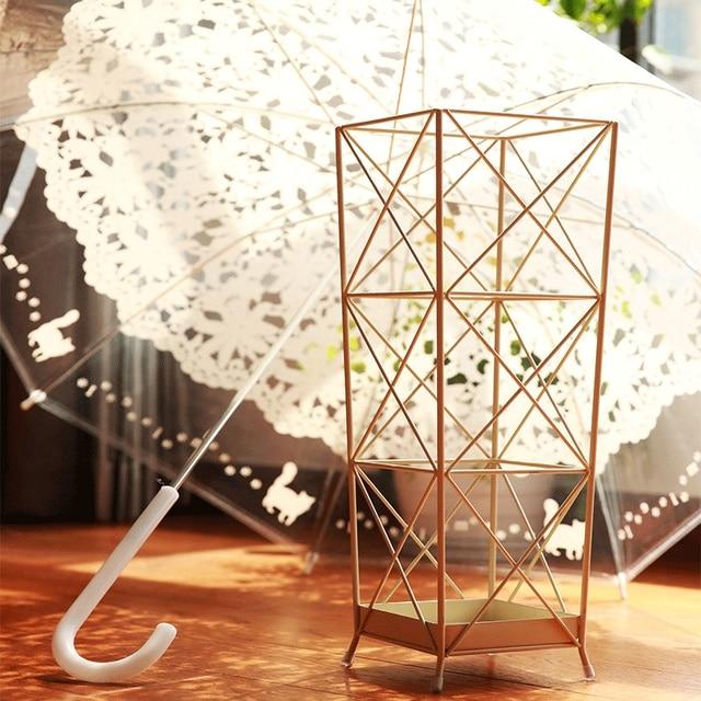Metal wire iron creative geometric line umbrella rack household ...