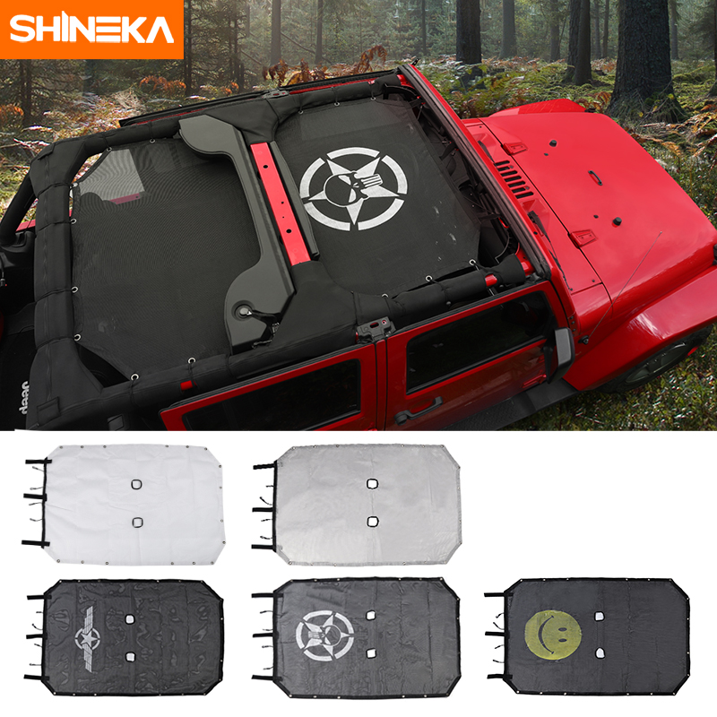 SHINEKA Top Sunshade Mesh Car Cover Roof UV Proof Protection Net for Jeep Wrangler JK 2 Door and 4 Door Car Accessories Styling Jeep