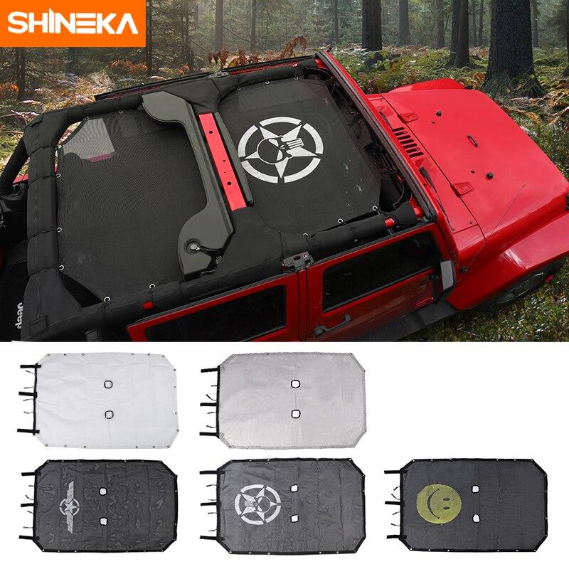 SHINEKA, Cubierta superior de malla para el techo del coche, red de protección a prueba de UV para Jeep Wrangler JK, 2 puertas y 4 puertas, accesorios de estilo para el coche