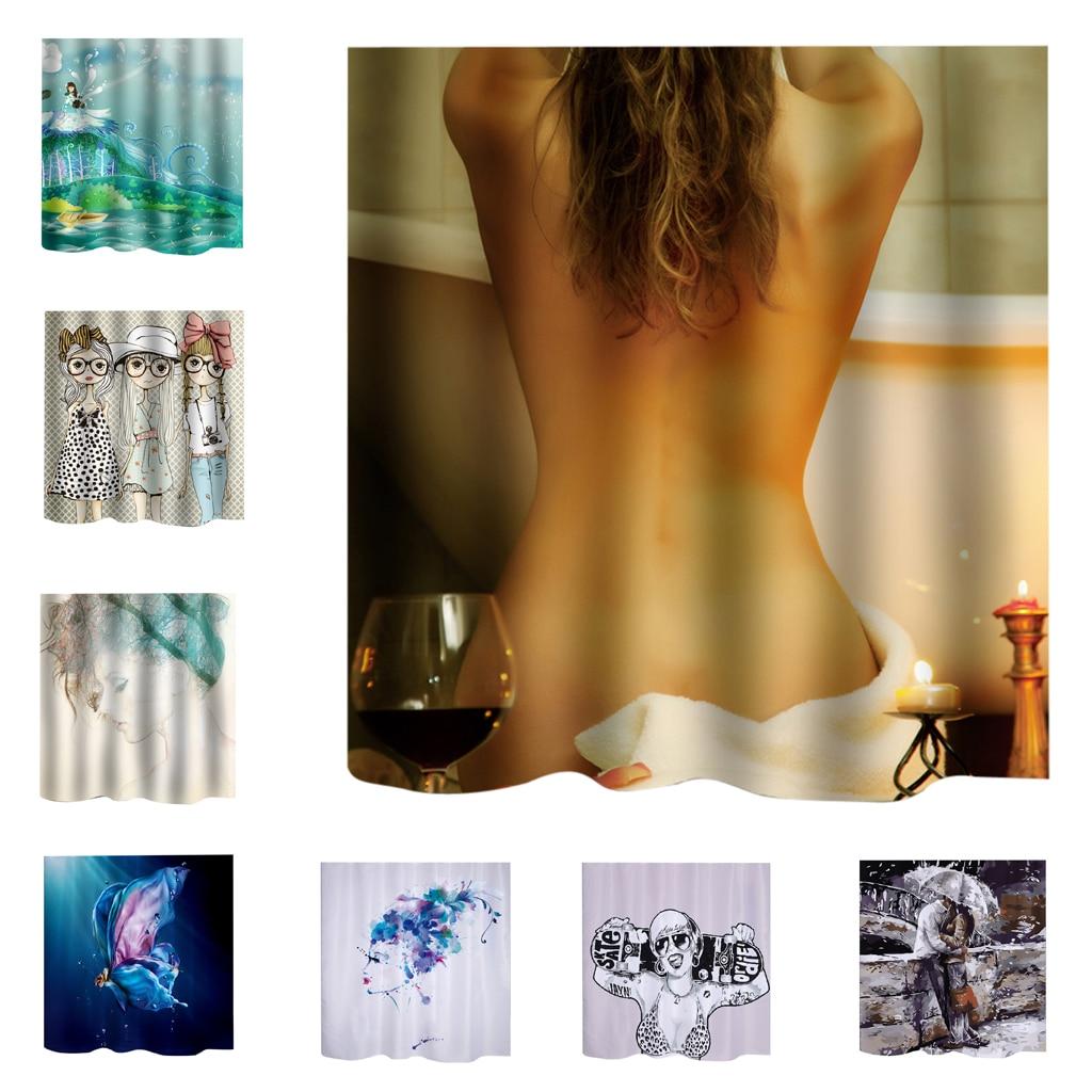 Bathroom Extra Long Fabric Bath Shower Curtain People Print Panel With 12 Hooks