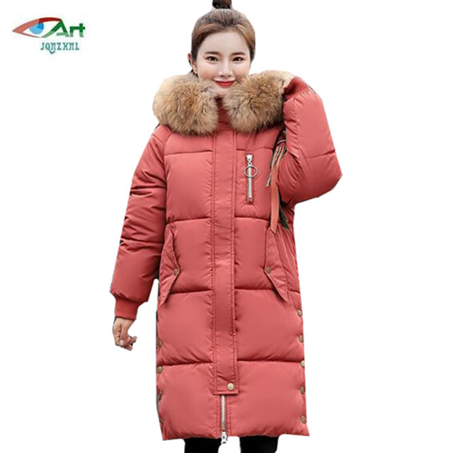 a8249ec2b5e Winter cotton women color Big fur collar hooded jacket loose plus size  women jacket female down