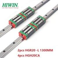 2 шт. Hiwin 20 мм линейные направительные рельсы HGR20 1300 мм + 4 шт. HGH20CA линейный узкая блоки для ЧПУ