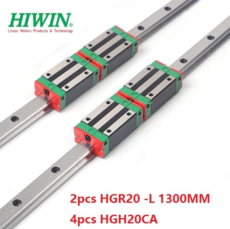 2 pièces Hiwin 20mm linéaire guide rail HGR20-1300 MM + 4 pièces HGH20CA linéaire étroit blocs pour CNC