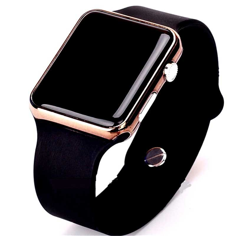 Fashion Square Mirror Face Silicone Band Digital Watch Red LED Watches Metal Frame WristWatch Sport Clock Hours 6colors