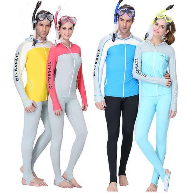 Rash Guard UPF50+ Beach Suntan Wet Suit Anti UV Wear Tankinis Men Women Dive Skin With Hood Cap Zipper Wetsuit Seaside