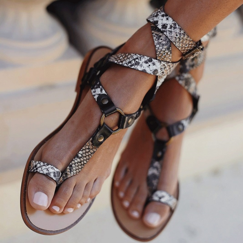 Womens Gladiator Sandals Shoes Ankle Strap Flip Flat Rome Strappy Open Toe Sizes