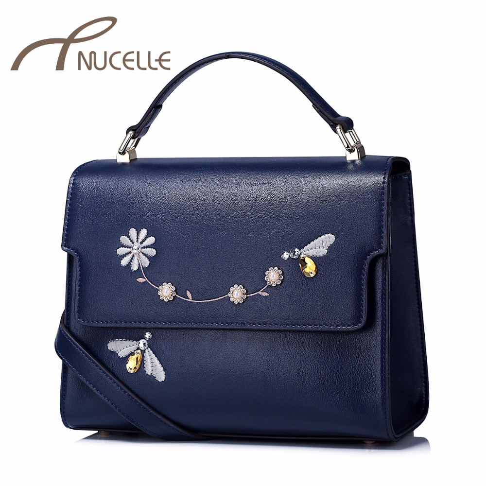 NUCELLE Women PU Leather Handbags Ladies Casual Embroidery Messenger Tote Purse Female Leisure Diamond Brief Flap Bag NZ41024