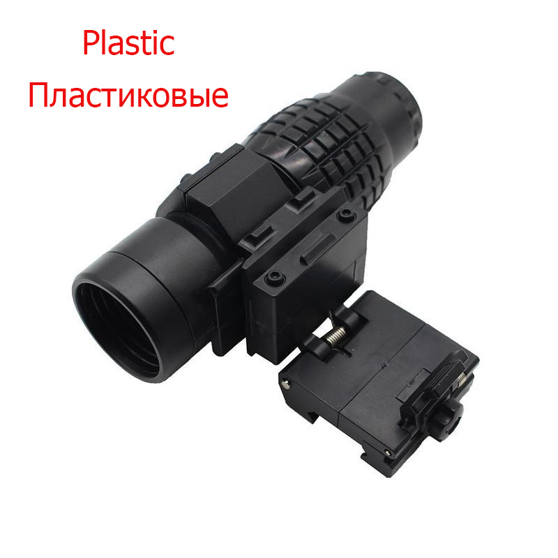 3x Magnifier Riflescope Tactical Compact Magnifying Hunting Scope For Riflescopes Toy Mount Fits Holographic Reflex Sight