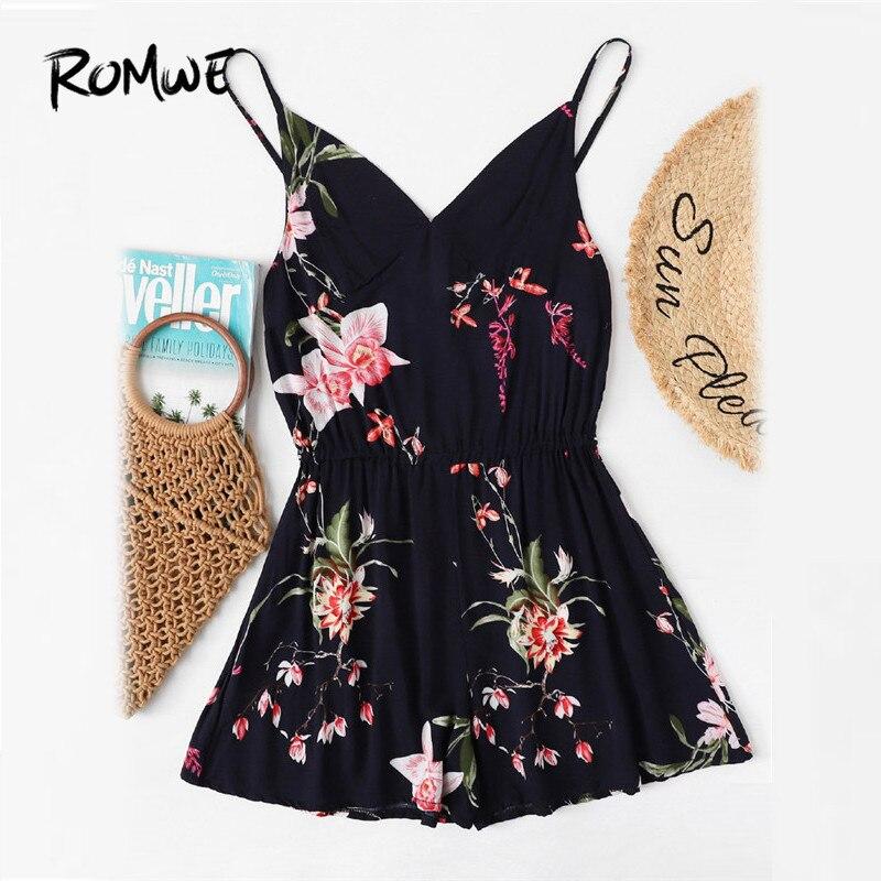ROMWE V Neckline Floral Print Cami Romper Women Navy Straps Sleeveless Playsuit 2018 Summer Vacation Mid Waist Romper