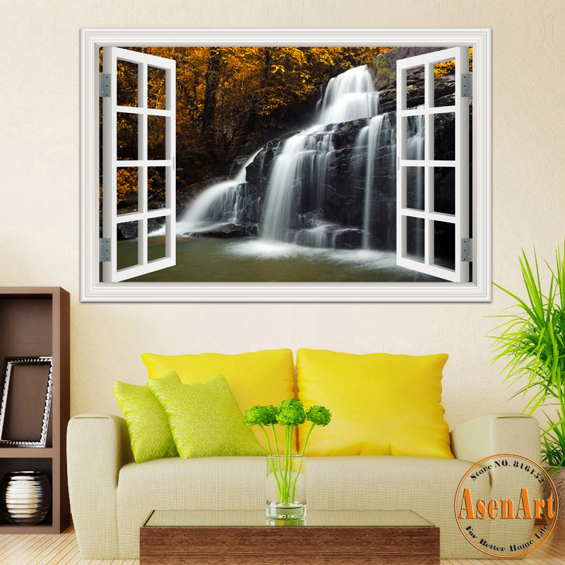 3d Effect Wallpaper For Living Room Aliexpress Com Buy Nature Landscape Decal Waterfall