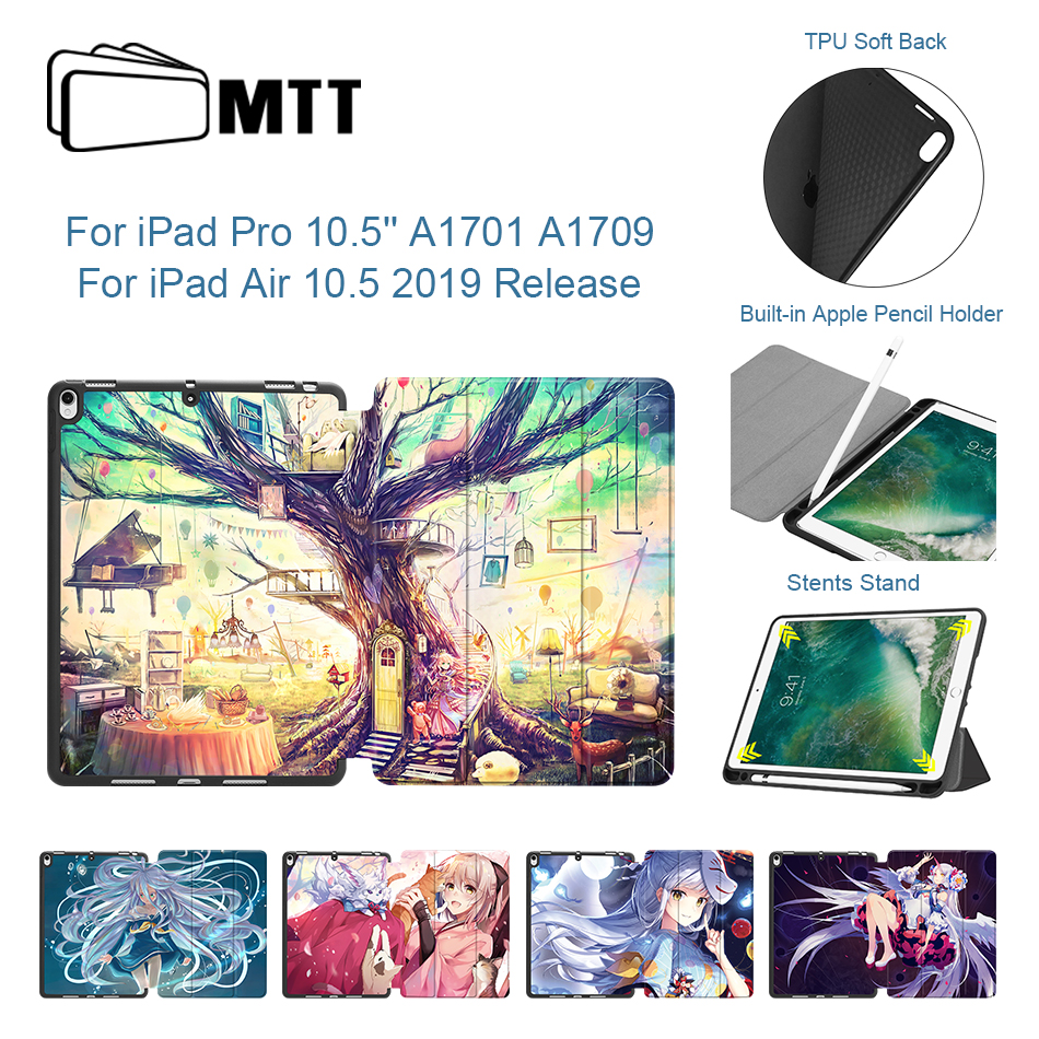 MTT Cartoon Anime Case For IPad Pro 10.5 Inch Soft TPU Back PU Leather Cover For IPad Air 10.5'' 2019 New Release Tablet Case