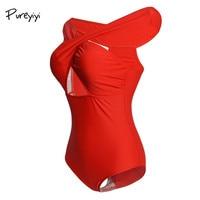 2018 Black Red Sexy Cross Halter Women Swimwear One Piece Swimsuit Solid Female Women Swim Suits
