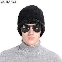 CUHAKCI invierno Cap Casual lana sombrero hombres gorros gorras terciopelo  lana roja caliente mujeres sombreros gorros 602538aa0e8