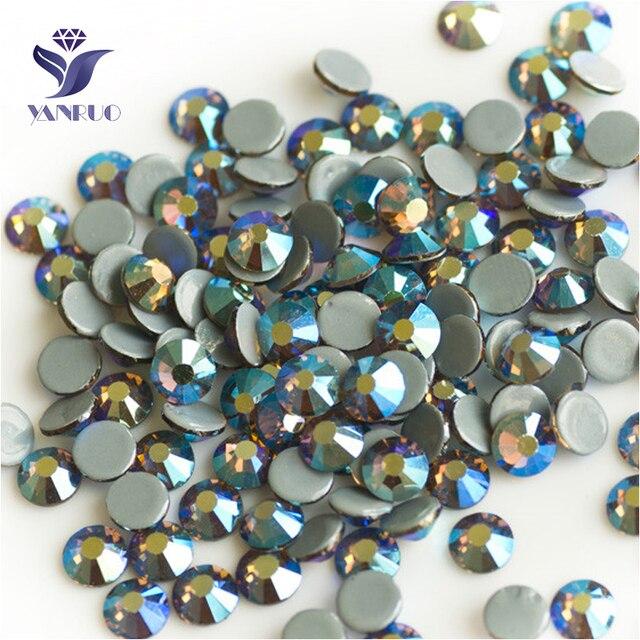 YANRUO 2058HF All Sizes Smoked Topaz AB Crystal Stone Hot Fix Flat Back  Strass Hotfix Rhinestones For Crafts 6668c95439dc