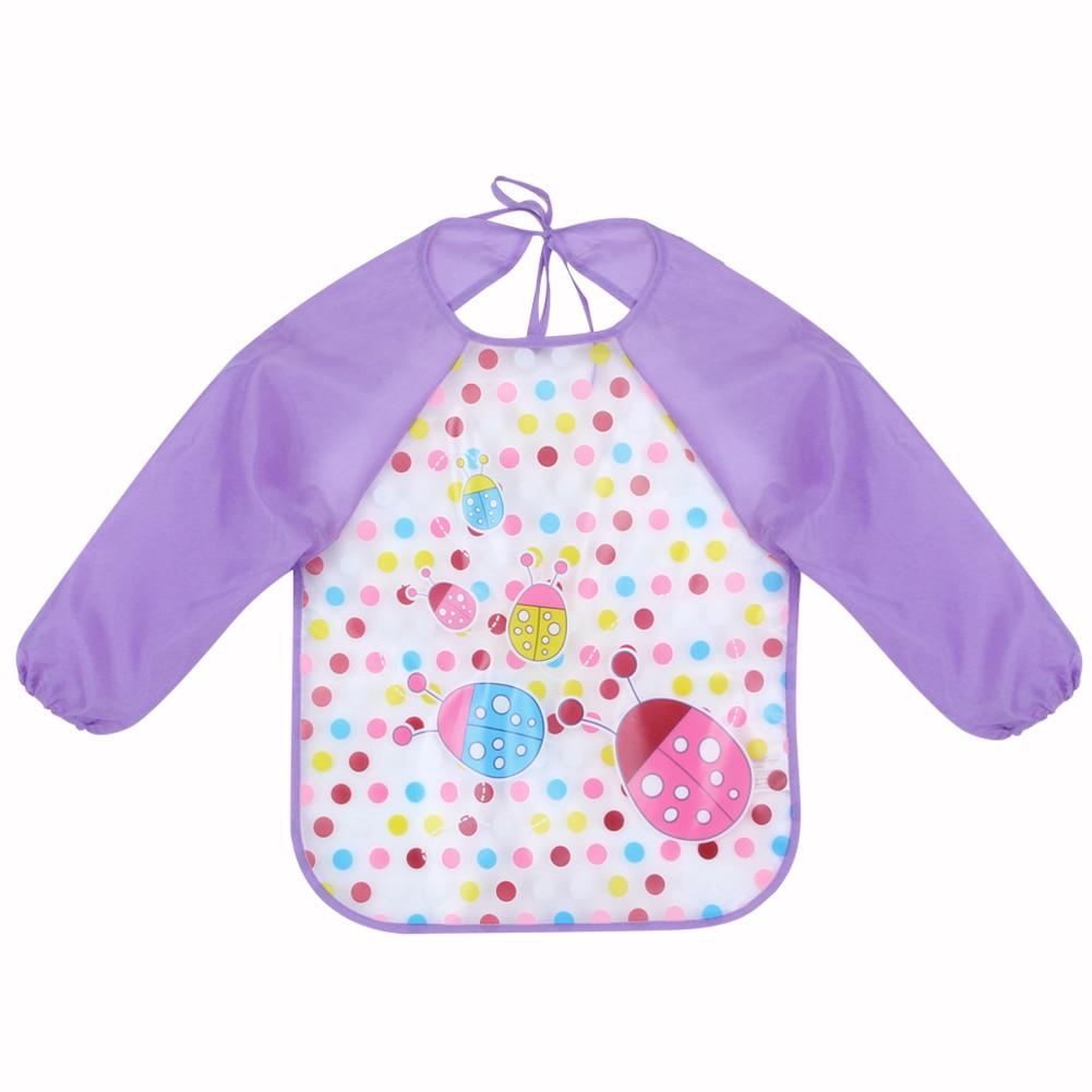 Bavoirs d'alimentation pour bébé, écharpe pour bébé, 1 pièce, tissu imprimé de dessin animé, manches longues, combinaison imperméable, accessoire d'alimentation pour bébé