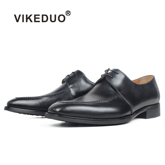 VIKEDUO Black Calf Skin Derby Dress Shoes Genuine Leather Wedding Office Men's Shoes Flat Brand Handmade Formal Zapato Hombre