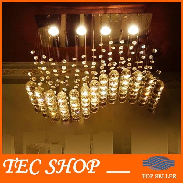 JH High Quality Wave Shaped K9 Crystal Chandeliers LED Hanging Wire Lights Restaurant Shop Bar Rectangular