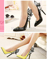 2015 Europe and the United States vampire diaries female butterfly wings pointed high-heeled shoes black yellow top 35-41 size