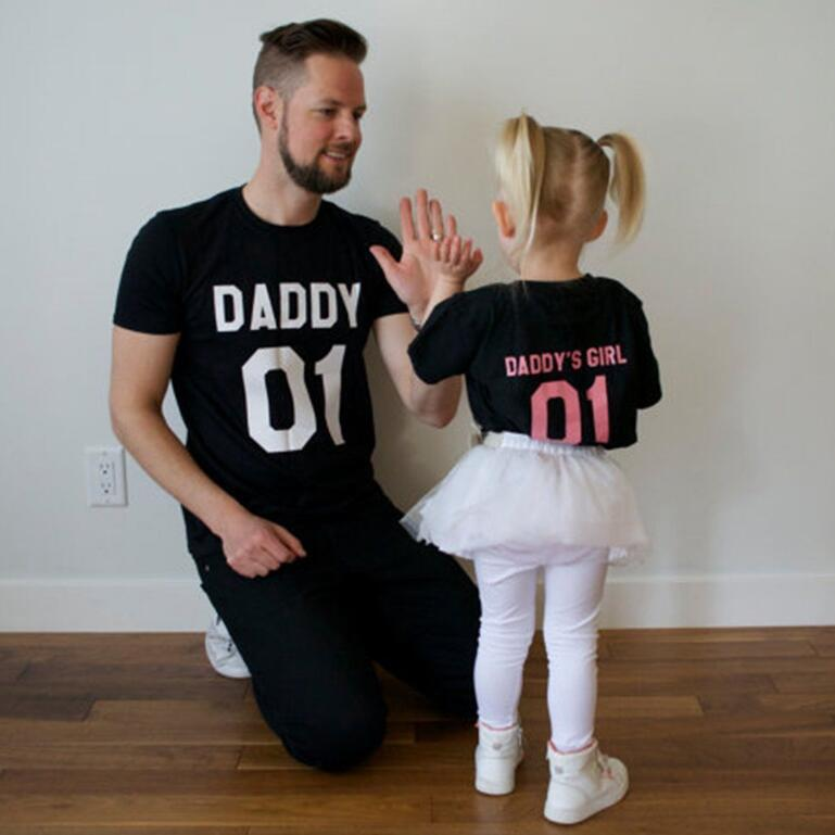 26f205bcee107 US $6.62 5% OFF|2017 New Arrival Family Look Summer T shirt Father And  Daughter Letter Design Family Matching Outfits Short Sleeve T Shirts-in ...