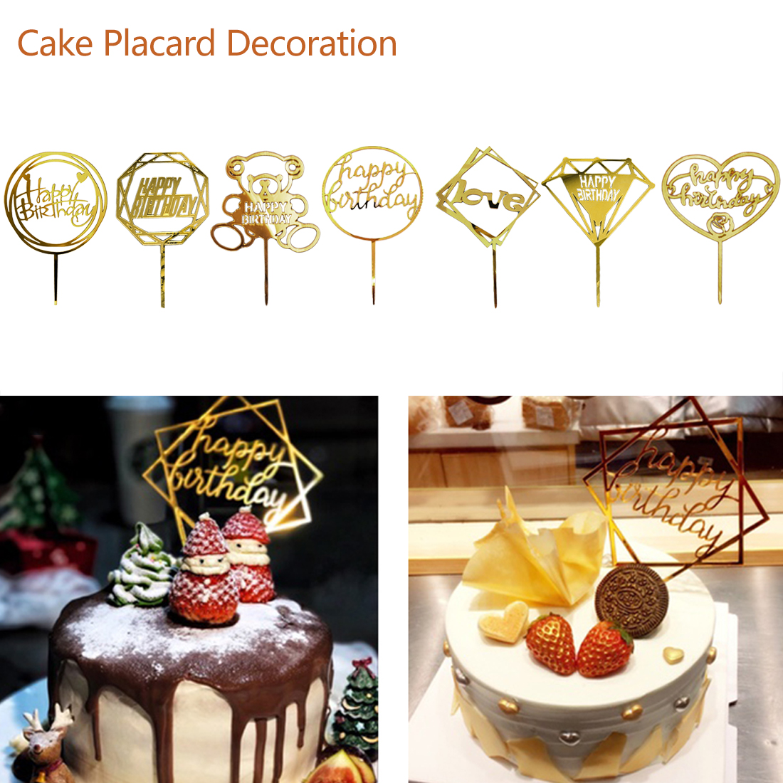 Golden Glitter Acrylic Happy Birthday Cake Topper Cupcake Toppers Baby Flags Party Wedding Decoration