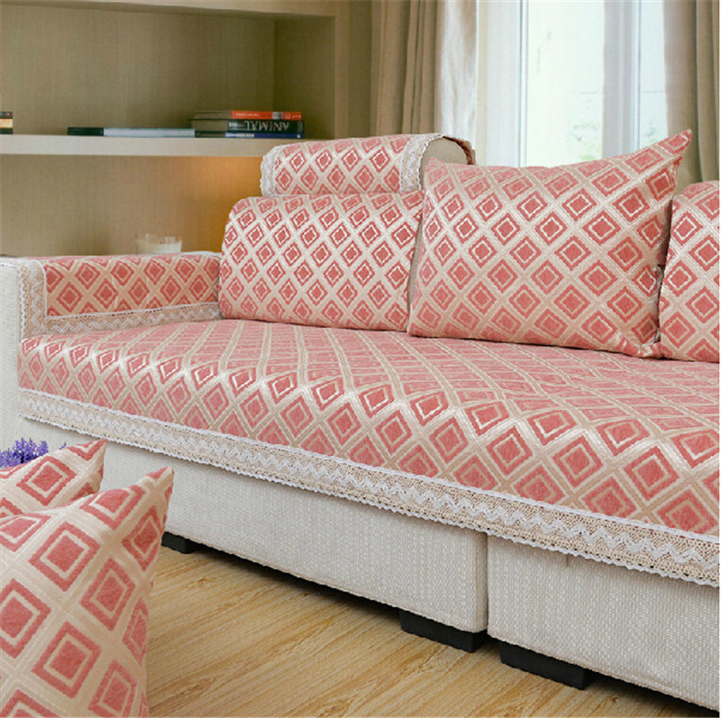 Fabric sofa covers modern brief plaid sofa covers chenille for How to cover furniture with fabric