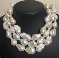 Free shipping Hot sell Wholesale price ^^^Large Baroque pearl necklace,Fireball pearl necklace,Large pearl necklace