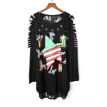Graffiti Hole Women Tshirt Letter Print Streetwear Loose Off Shoulder Tops Long Sleeve