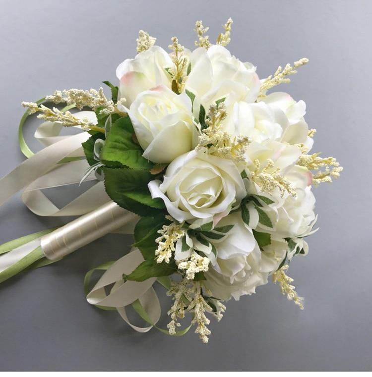 white pink silk flowers bridesmaids bridal Wedding Bouquets rose flowers (3)