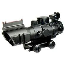 Tactical Rifle Scope 4X32 luneta para karabin/Airsoft pistolet W/Tri podświetlany wizjera włókna światłowodowe polowanie Chasse Caza
