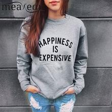 Meaneor Long Sleeve Women Hoodie Casual Sweats Round Neck Spring Sweatshirt Fashion Letter Print Pullover Regular Autumn Hoodies