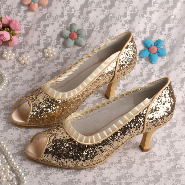 Popular Gold Shoes Mid Heel-Buy Cheap Gold Shoes Mid Heel lots ...