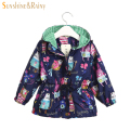 3 Color Autumn Cartoon Graffiti Girls Coats and Jackets Cotton Lining Baby Outwear Kids Zipper Jacket Girl Hooded Windbreaker