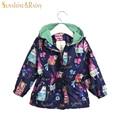 3 Color Autumn Cartoon Graffiti Girls Coats and Jackets Cotton Lining Baby Outwear Kids Zipper Jacket Girl Hooded Windbreaker