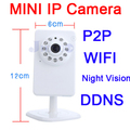 Mini p2p-ip-kamera drahtlose wifi sicherheit plugplay micro sd card speicher 0,3 megapixel nachtsicht cctv-kameras