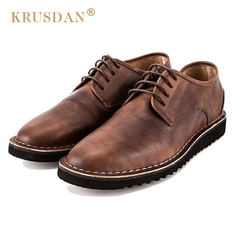 KRUSDAN Btitish Brand Man Comfortable Flat Platform Shoes Vintage Genuine Leather Round Toe Lace-up Men's Handmade Footwear