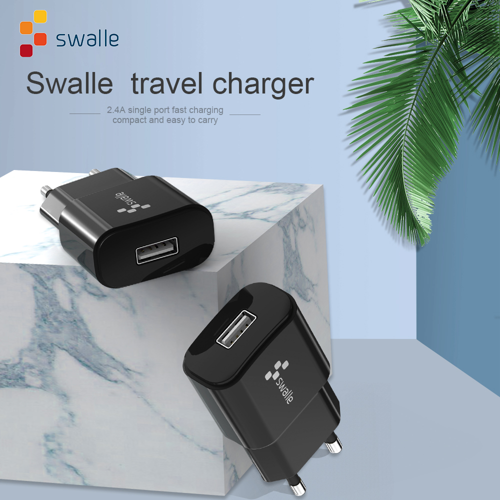 Swalle 5V 2.4A Travel Wall Charger Mobile Phone EU Plug Charger Adapter for Samsung Huawei Xiaomi USB Port 3 in 1 usb cable