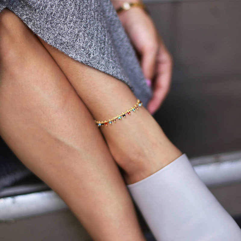 แฟชั่นอินเทรนด์เครื่องประดับคริสตัล Rhinestone คริสตัล Drop ข้อเท้าฤดูร้อน Barefoot ข้อเท้าขาสร้อยข้อมือของขวัญผู้หญิง
