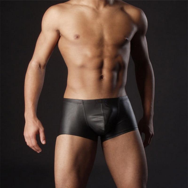 Men Lingerie Faux Imitation Leather Boxers Black Sexy Underwear Boxers Shorts Cool Male Underpants 2018 New Plus Size