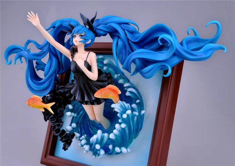 35cm Game Sexy Picture Photo Frame Hatsune Miku Deep Sea Girl Ver Anime Action Figure VOCALOID PVC 1/8 Model Decoration Doll New 1pcs vocaloid hatsune miku deep sea pvc action figure model collection toy retail