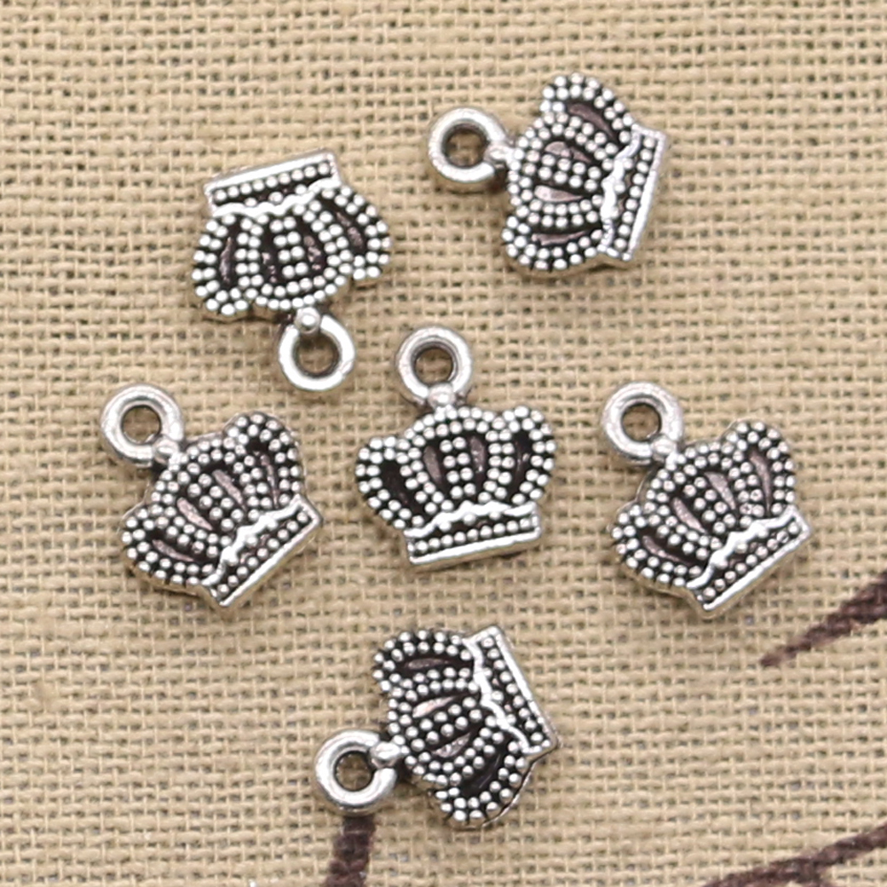 15pcs Charms Lovely Crown 11x8mm Antique Tibetan Silver Pendant Findings Accessories DIY Vintage Choker Handmade Jewelry