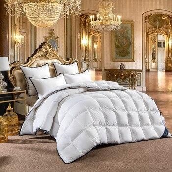 Edredón de relleno de lujo de ganso blanco, edredón de invierno cálido suave y puro 100%, funda nórdica de algodón de un solo tamaño doble reina rey