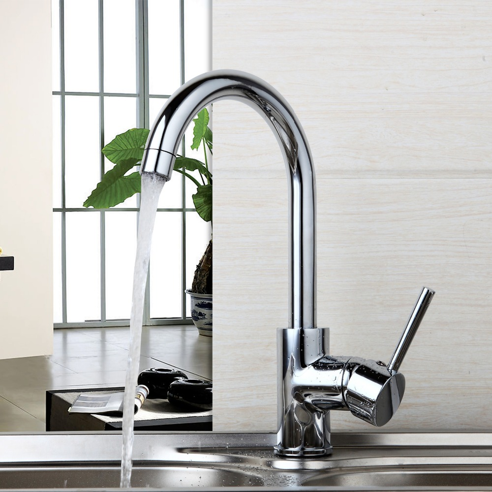 Chrome Finish 360 Swivel Kitchen Bathroom Basin Sink Faucet Hot & Cold Water Mixer Countertop Taps Single Handle Tap single handle bathroom basin vessel sink faucet hot cold water mixer taps chrome finish one hole