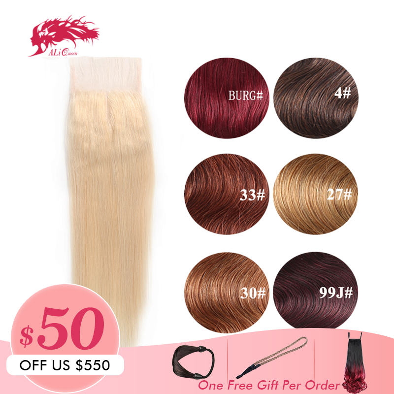 Ali Queen Hair Products Brazilian Remy Hair 4x4 Straight Hair Closure Middle Free Part 10inch 20inch