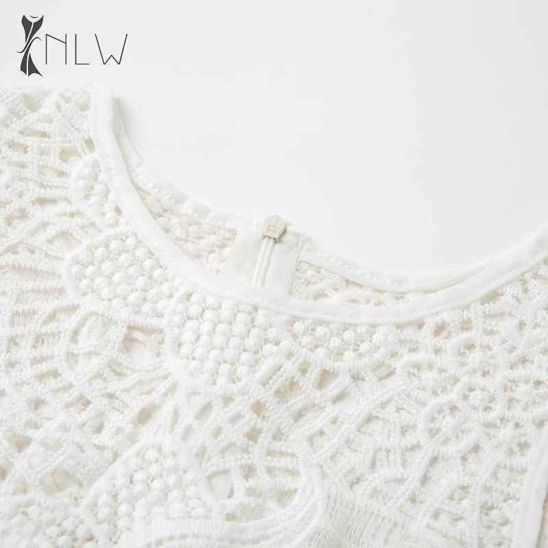 NLW blanc dentelle moulante robe femmes élégant robes de soirée évider broderie automne hiver robe 2019 Sexy Bandage robes