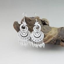 Peacock Tassel 999 Sterling Silver Dangle Earrings For Women Bohemian Jewelry Luxury Ethnic Chinese Handmade Womens Jewellery